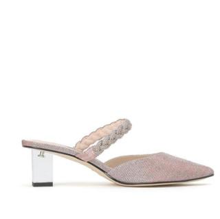 STACCATO 思加图 通勤系列女士纯色尖头透明方跟套脚凉鞋9PV09AH0 粉银36