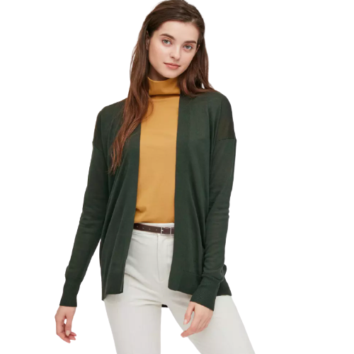 UNIQLO 优衣库 女士纯色长袖针织开衫430590 深绿色XS