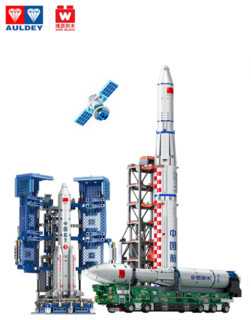 双十一预售 : 奥迪双钻 中国航天长征五号11号运载火箭模型积木玩具