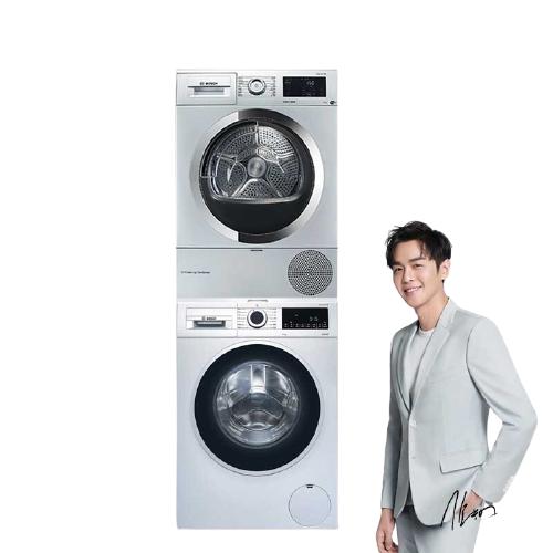 BOSCH 博世 洗烘套装 4系 WGA152X80W滚筒变频洗衣机10kg 6系 WTU87RH80W烘干机9kg 银色