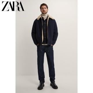 ZARA 00706405401 男士抓绒拼接夹克外套