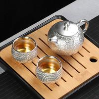 999纯银快客杯一壶二杯2人陶瓷功夫日式办公室便携旅行茶具套装
