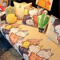 布艺沙发垫四季通用防滑全棉沙发巾可爱北欧现代简约沙发套罩盖布