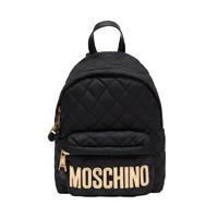 MOSCHINO 莫斯奇诺 女士菱格尼龙拉链双肩包76088201-B3555 黑色金字