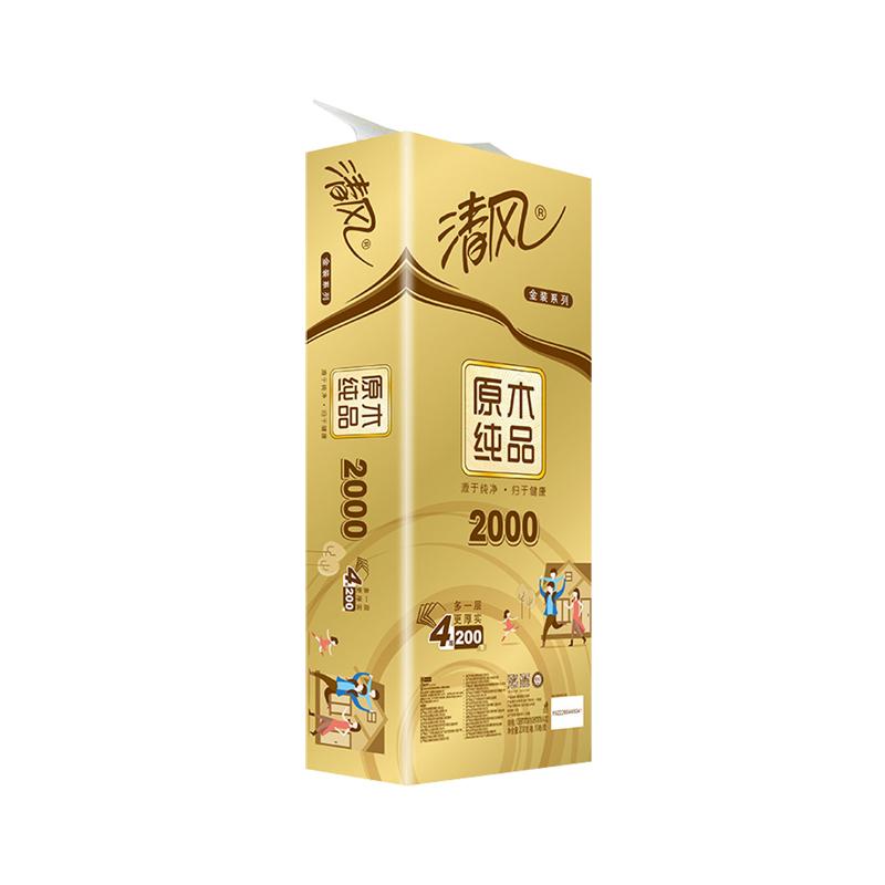 Breeze 清风 原木纯品金装系列 有芯卷纸 4层*200g*10卷