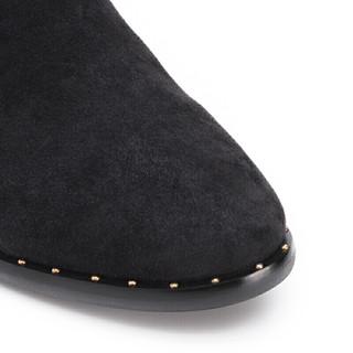 YANXUAN 网易严选 女士羊绒斜口粗跟踝靴1654009 黑色34