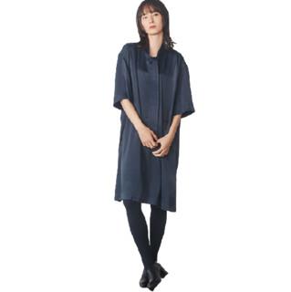 UNIQLO 优衣库 女士纯色蝴蝶结领宽松连衣裙430968 深灰色XS