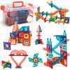 紐奇  兒童磁力片積木玩具彩虹滾珠滑道1-3-6歲男孩女孩玩具磁力大顆粒積木 滾珠滑道磁力片66件套