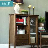 治木工坊 BLTSG-05 纯实木美式胡桃色边柜 0.8-1m