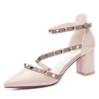 百年纪念Centenary尖头铆钉粗跟休闲鞋高跟粗跟罗马鞋女鞋1437