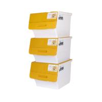 CHAHUA 茶花 2885 斜翻盖收纳箱 34L*3个 黄色