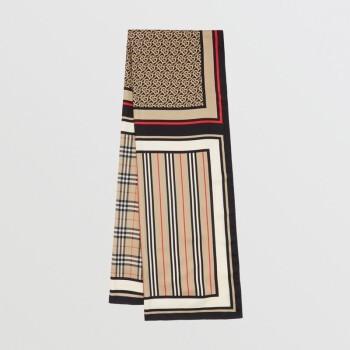BURBERRY 博柏利 80119511 男女通用典藏米色专属标识围巾