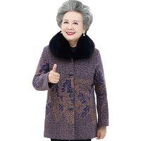 老太太冬装加绒加厚上衣奶奶装大衣老人衣服中老年人秋冬毛呢外套