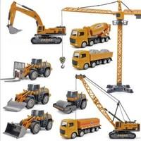 邦娃良品 合金工程車套裝 吊塔+壓路車+運輸車+推土車+挖掘機+攪拌機