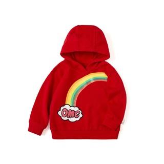 Balabala 巴拉巴拉 女童连帽长袖卫衣 中国红 90cm