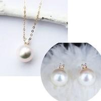 PearlYuumi 優美 Akoya 王妃款项链耳钉套装18K黄金 7.5-8mm钻石