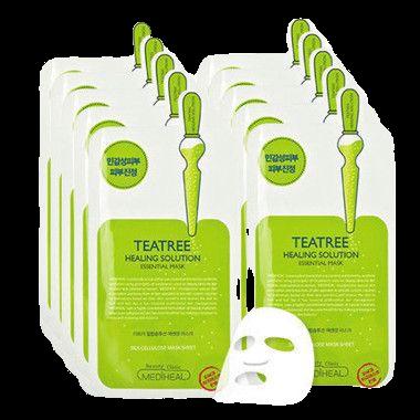 美迪惠尔(Mediheal) 茶树精油面膜10片/盒(镇定舒缓 紧致弹润 呵护肌肤 男女适用) 可莱丝 韩国进口 *3件