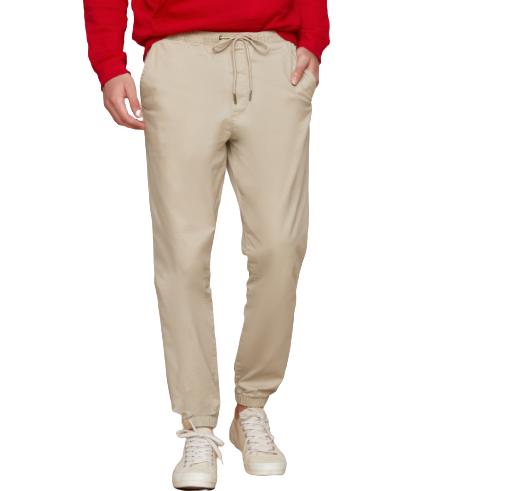 Gap 盖璞 男士纯色棉质松紧腰直筒工装长裤357801 卡其色XS