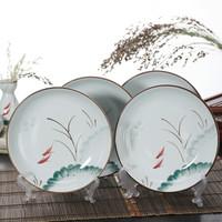 洁雅杰陶瓷餐具 家用盘子陶瓷汤盘(8英寸)釉下彩饭盘手绘碗盘餐具套装(4只装) 鱼晓 *3件