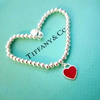 Tiffany&Co. 蒂芙尼 6194179 经典款红心珠手链