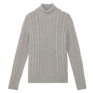 MUJI 无印良品 W7AA874 女士阿兰图案高领毛衣