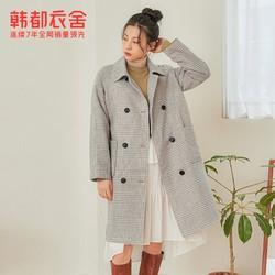 HSTYLE 韩都衣舍  JM9902 女装中长款格子毛呢外套