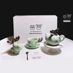 忒逗梦鹿碎花 创意茶具套装 可爱个性茶杯 陶瓷茶壶礼品