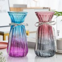 加厚玻璃花瓶富贵竹百合插花瓶欧式大号透明花器客厅装饰插花摆件 2个装 大