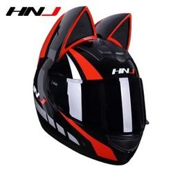 HNJ 猫耳朵 摩托车头盔 黑红猫
