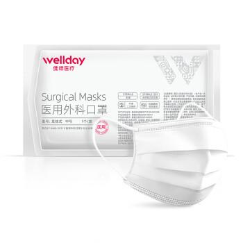 维德医疗(WELLDAY)一次性成人口罩25只/盒 医用外科无菌防护透气清薄防雾霾柳絮三层挂耳式男女独立包装 *3件