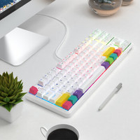 黑爵(AJAZZ)K870T蓝牙无线双模87键机械键盘RGB灯光手机平板笔记本游戏办公 白色红轴