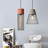 餐厅吊灯北欧复古工业风酒吧咖啡厅个性铁艺水泥灯饰单头床头灯具