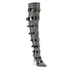 PHILIPP PLEIN 菲利普普兰 女士晶饰镶嵌及膝靴