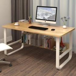 木以成居 电脑桌钢木书桌书架 板式双层(加宽)收纳现代简约学习桌台式办公桌子 浅胡桃色100*60CM  LY-4139