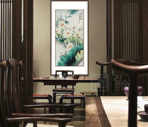 国画荷花 一堂和气 背景墙装饰画 成品尺寸 宽80高150cm
