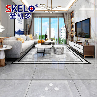 圣凯罗 简约灰色负离子通体大理石瓷砖800*800地砖客厅新款防滑耐磨地板砖 TT004帕斯高灰 800*800