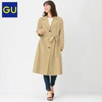 GU 极优 327824 女装格纹拼接风衣外套