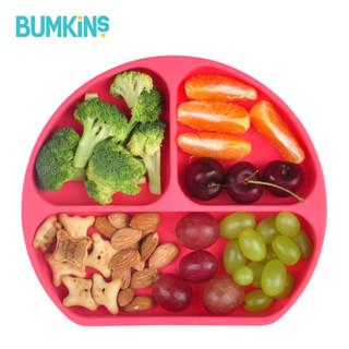 Bumkins美国宝宝餐盘婴儿分格吸盘碗硅胶儿童餐具 樱桃红 全硅胶餐盘 *4件