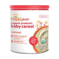 禧贝HappyBABY 婴幼儿有机米粉 宝宝辅食 强化钙铁锌 有机燕麦米粉 1段 198g 美国进口 辅食添加初期6月以上