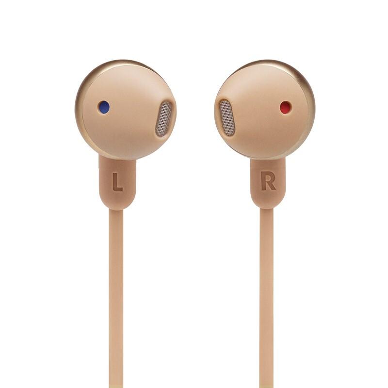 JBL 杰宝 TUNE215BT 半入耳式颈挂式蓝牙耳机 暮光金