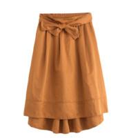 INMAN 茵曼  女士系带不规则A字半身裙F1881110543 焦糖色S