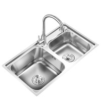 Superte 舒美特 304不锈钢厨房水槽双槽 84*45cm+SUS304不锈钢龙头