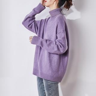 唐狮 高领毛衣女日系复古套头针织衫 625420043407G