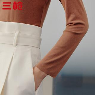 THREEGUN 三枪 女士无痕高领修身保暖打底衫23352A0 奶咖XL
