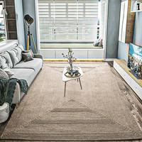 纵横羊毛手工地毯客厅茶几毯手工打结编织方形几何地毯北欧简约轻奢玄关卧室飘窗毯床边毯 米黄 90CMx150CM