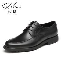 satchi/沙驰男鞋 男士商务皮鞋男头层牛皮正装真皮男鞋 黑色 42