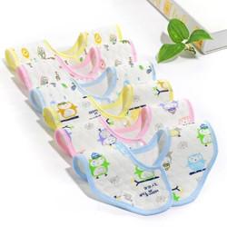 安琪娃婴儿围嘴宝宝纯棉防水口水巾新生儿防吐奶围兜360度可旋转口水兜 6条装-