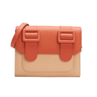 MERIMIES 拼色系列女士方形磁扣单肩斜挎包CB015 橘色拼色中号
