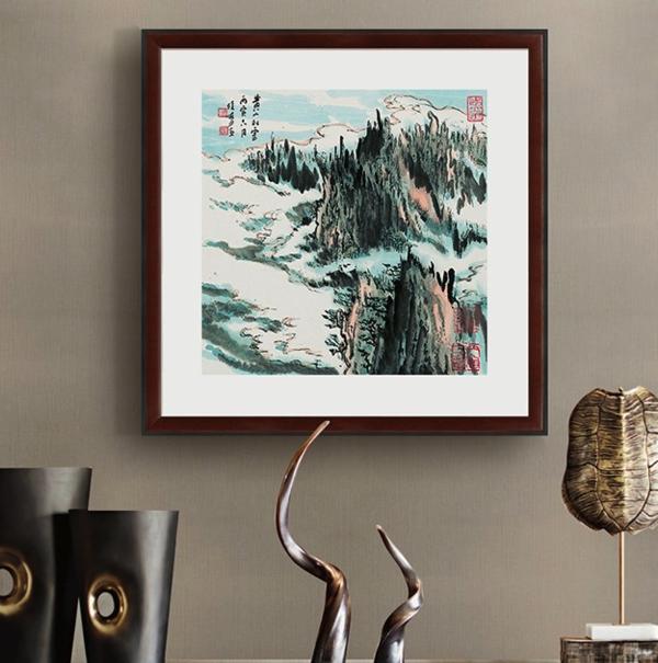国画水墨画《蒙象册5》陆俨少 背景墙装饰画挂画 茶褐色 47×47cm