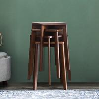爱必居 实木凳子家用高板凳客厅餐桌凳换鞋凳 简约客厅经济型榉木方凳胡桃色
